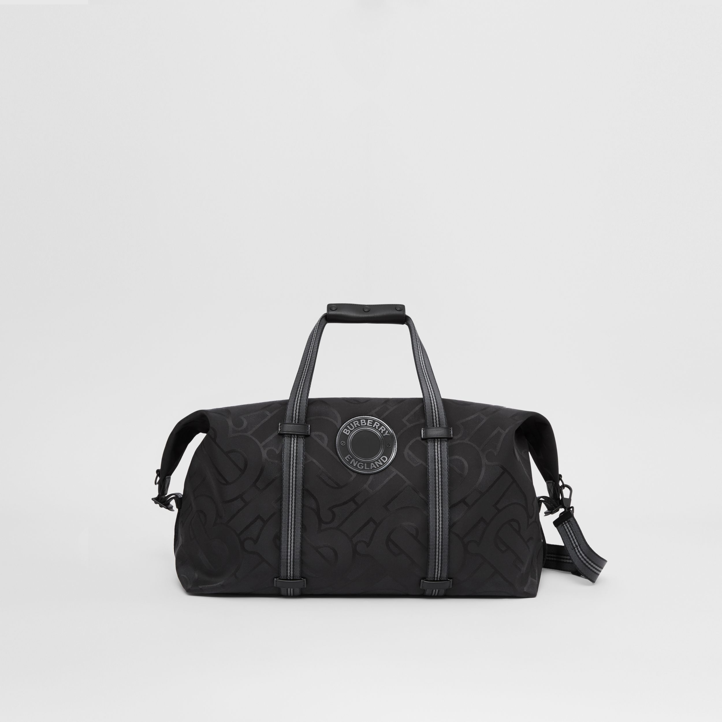 Monogram Recycled Polyester Jacquard Holdall in Black - Men | Burberry Singapore - 1