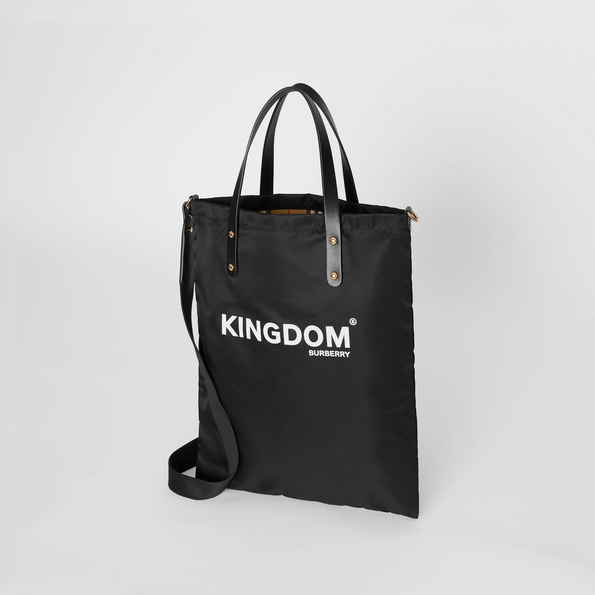 Kingdom Print Nylon Tote in Black | Burberry - gallery image 2