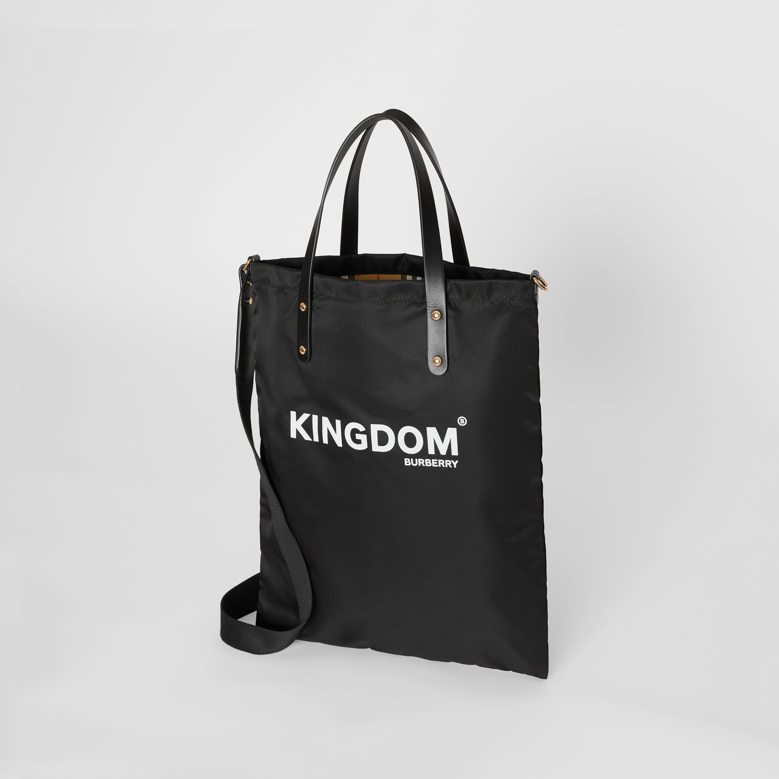 Kingdom Print Nylon Tote in Black | Burberry - 3