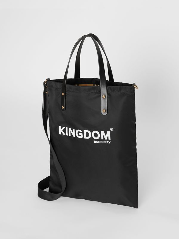 Kingdom Print Nylon Tote in Black | Burberry United States - cell image 2