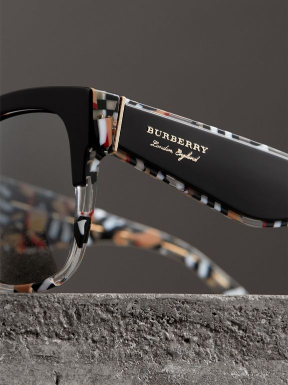 Patchwork Check Oversize Square Frame Sunglasses in Black - Women | Burberry Hong Kong - cell image 1