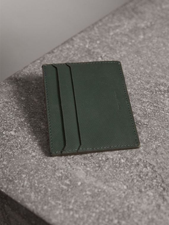 Trench Leather Card Case in Dark Forest Green | Burberry - cell image 2