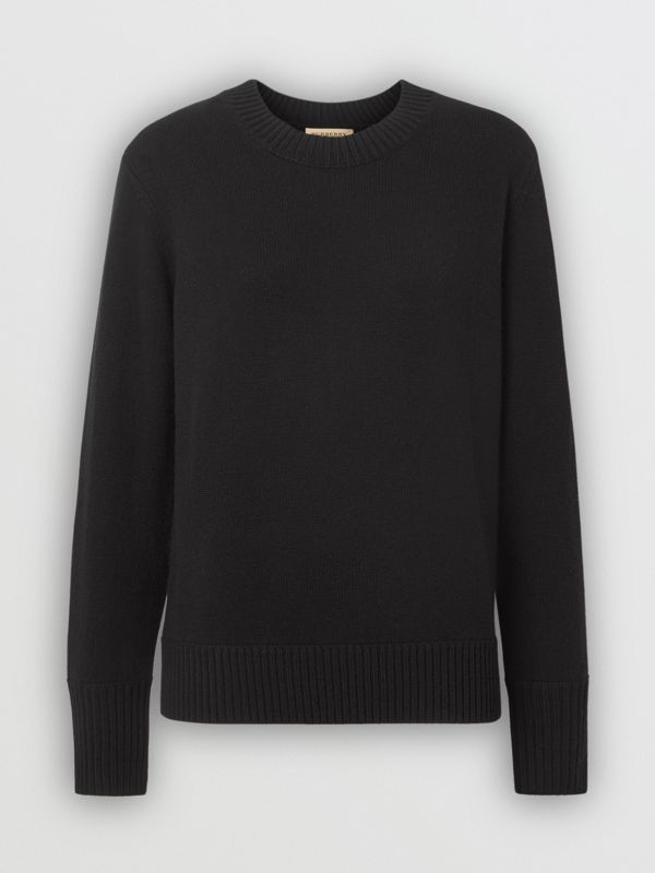 Embroidered Crest Cashmere Sweater in Black - Women | Burberry Singapore - cell image 3
