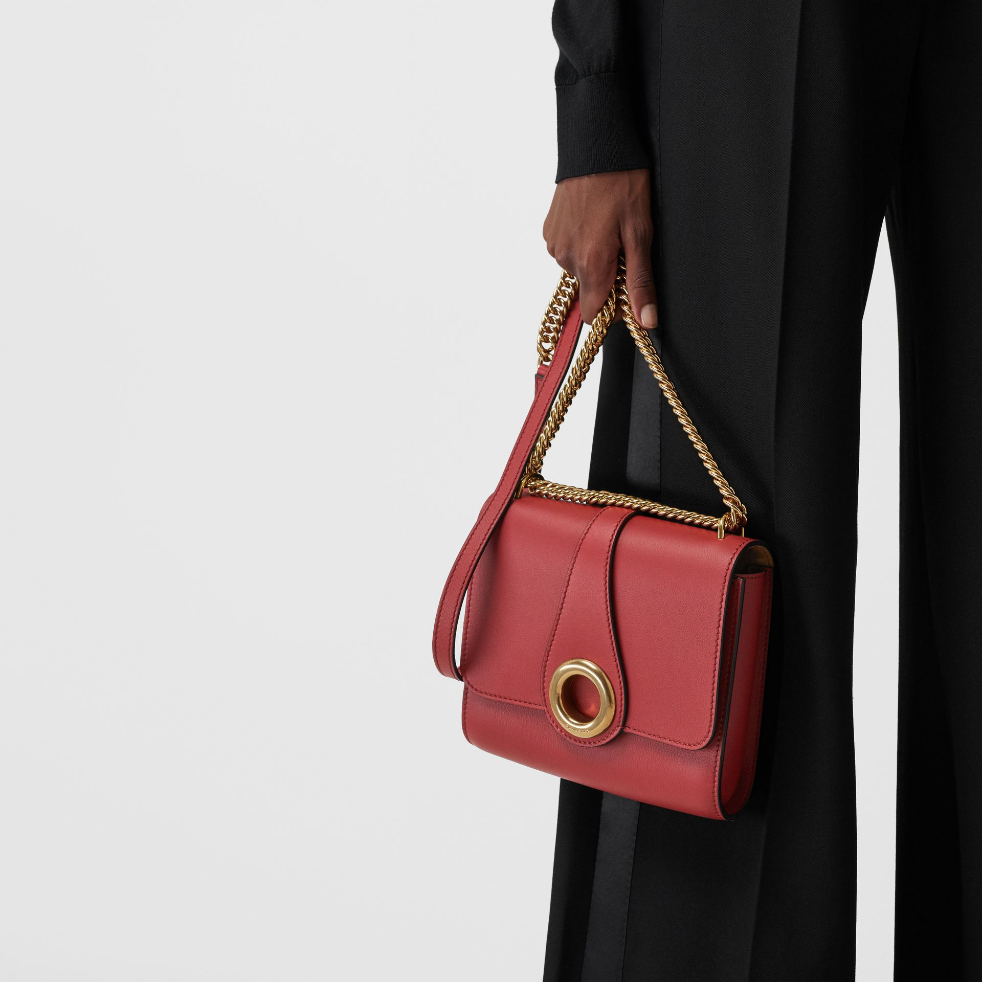The Leather Grommet Detail Crossbody Bag in Crimson - Women | Burberry United Kingdom - gallery image 3