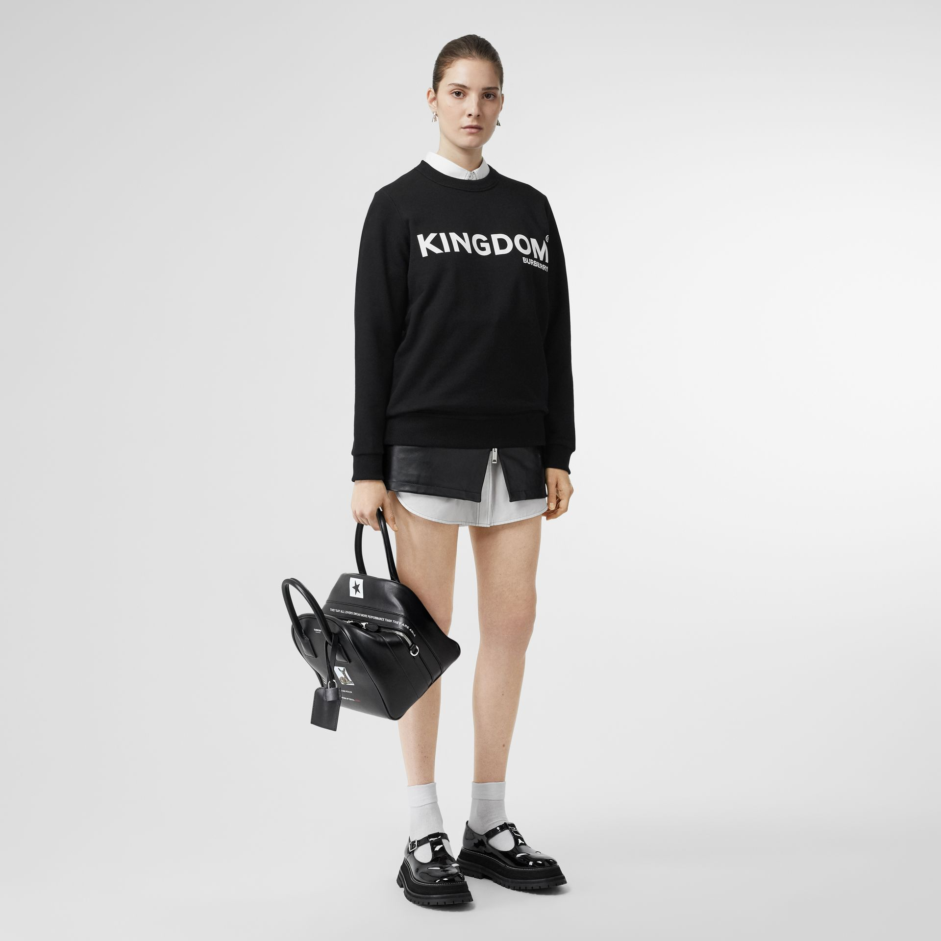 Kingdom Print Cotton Sweatshirt in Black - Women | Burberry - gallery image 0