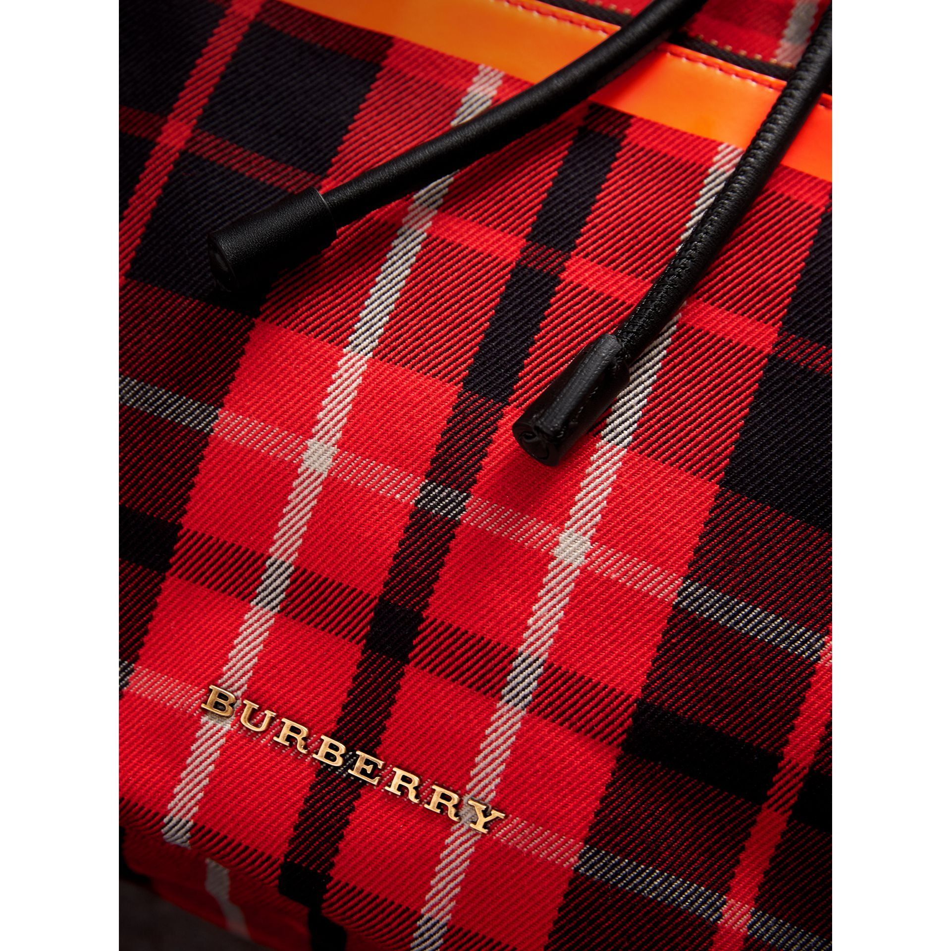 The Large Rucksack in Tartan Check Cotton in Vibrant Red | Burberry Canada - gallery image 1