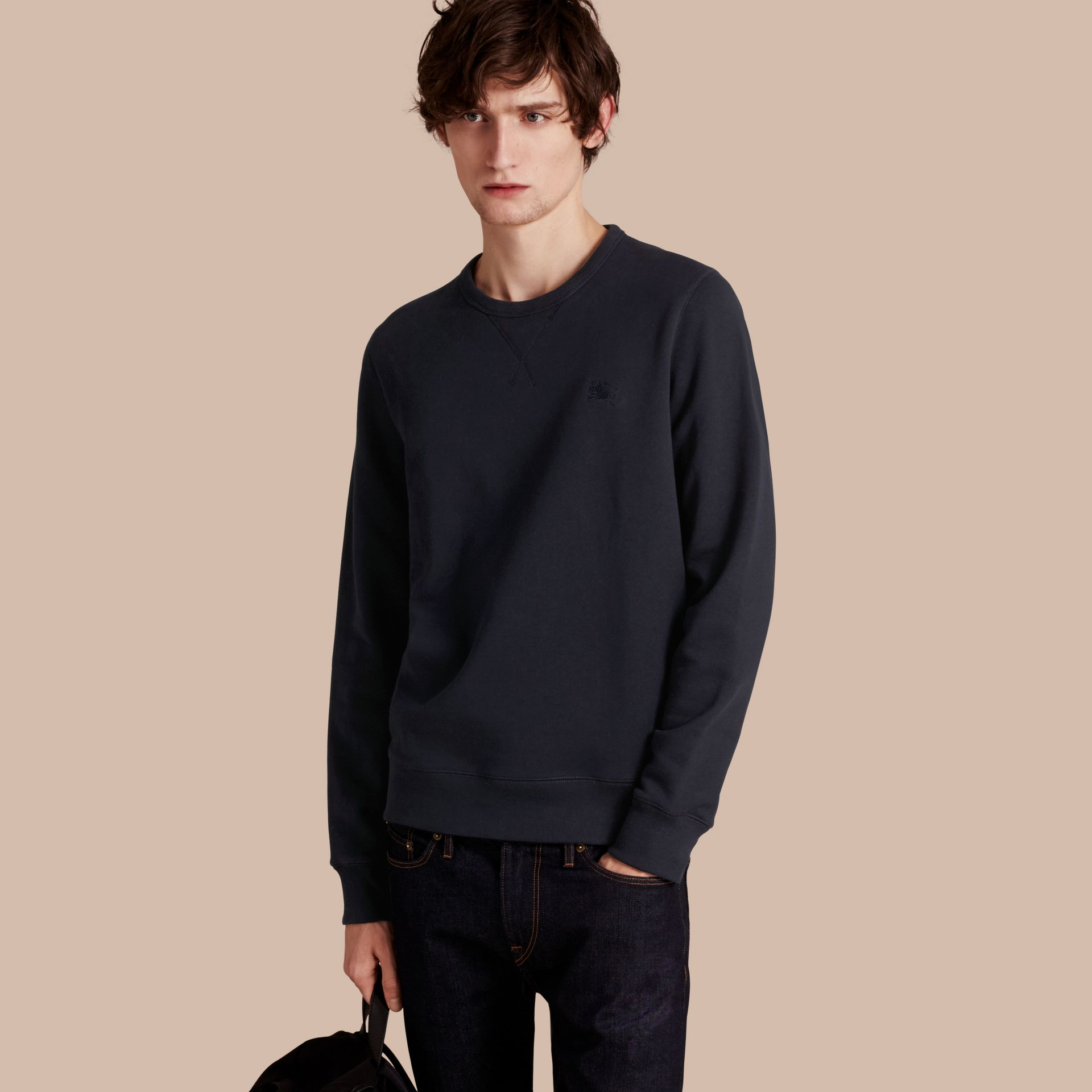 Cotton Blend Jersey Sweatshirt in Navy - gallery image 1