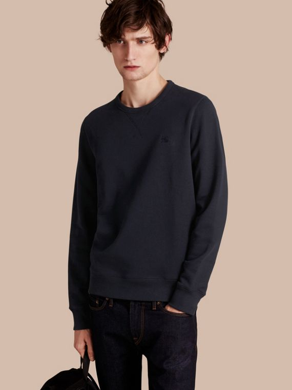 Cotton Blend Jersey Sweatshirt in Navy