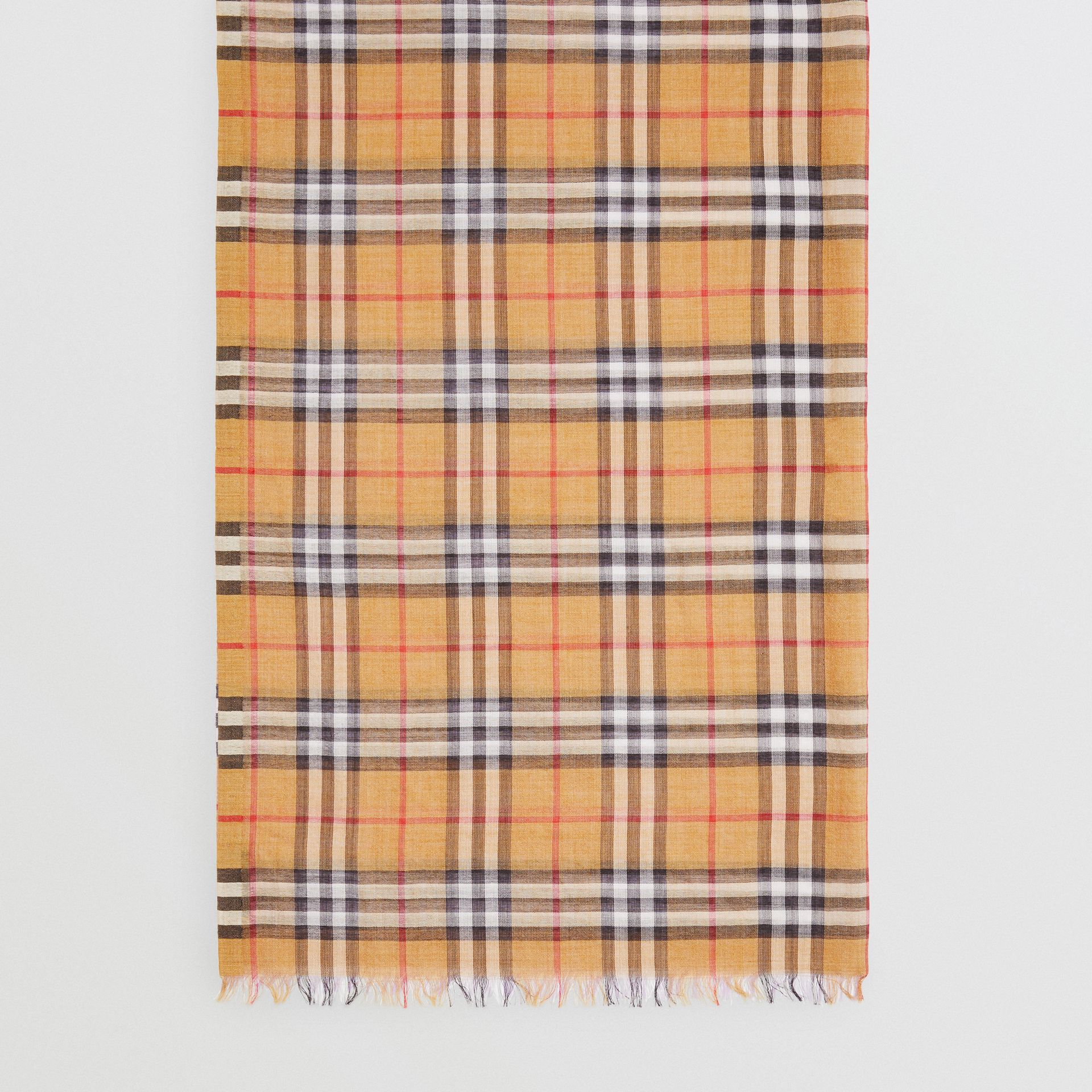 Vintage Check Colour Block Wool Silk Scarf in Lilac | Burberry - gallery image 4