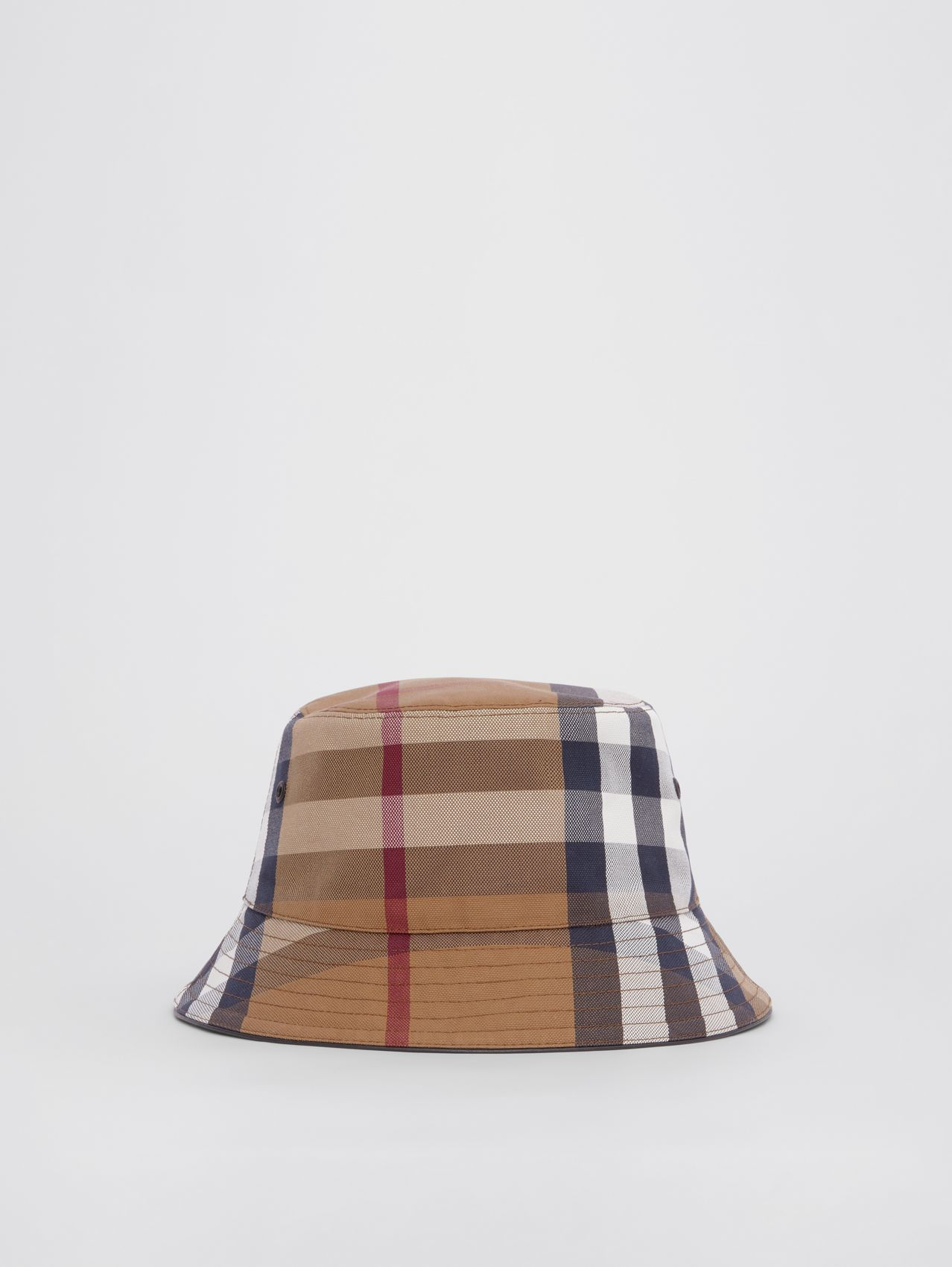 Check Cotton Canvas Bucket Hat in Birch Brown