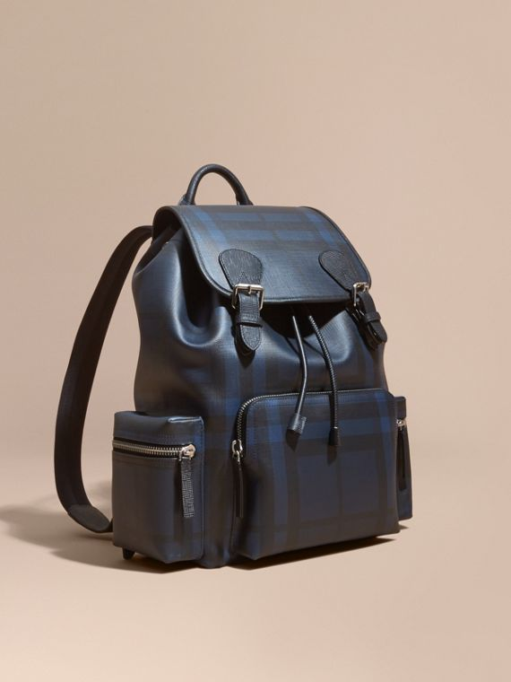 The Large Rucksack in London Check and  Leather
