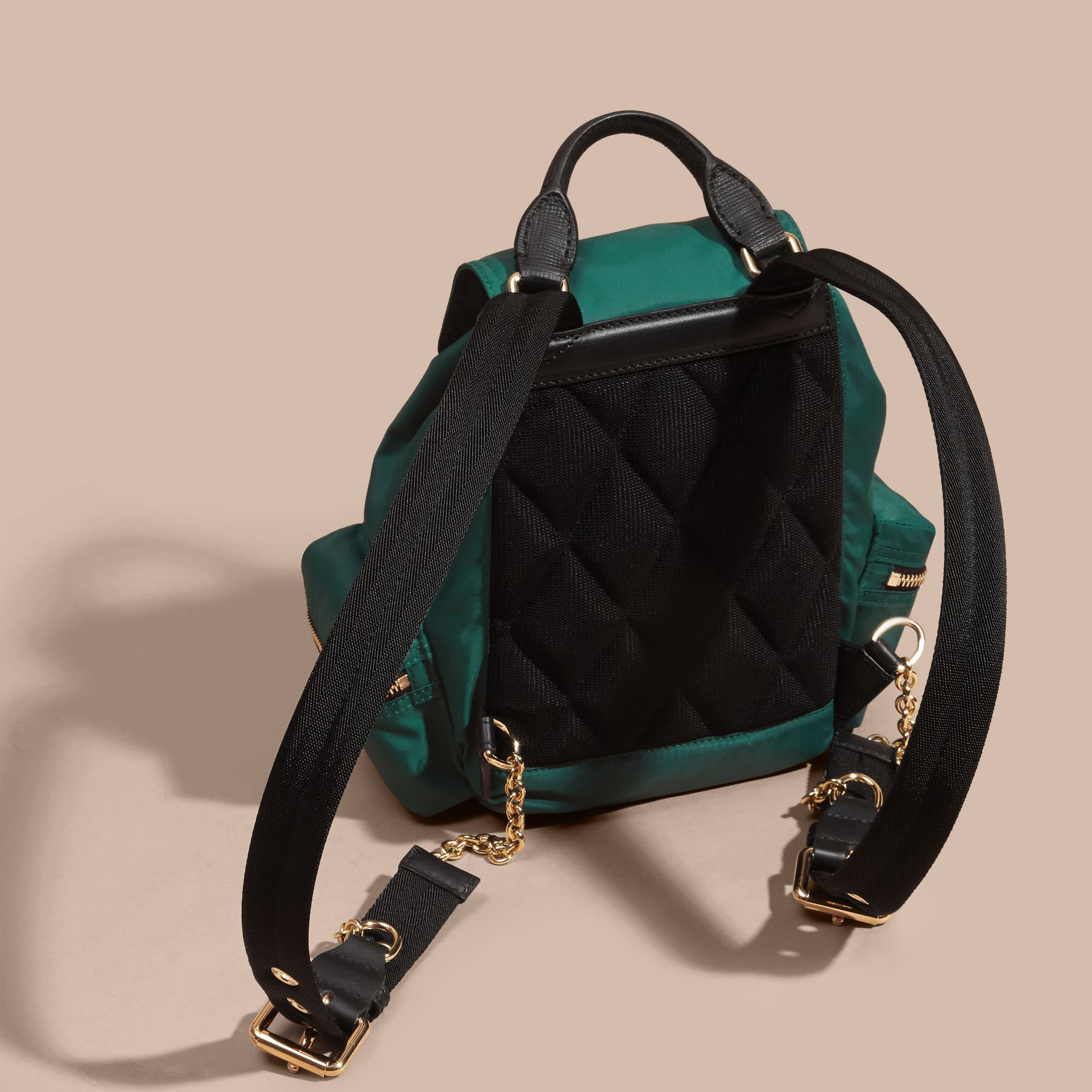 The Small Rucksack in Technical Nylon and Leather Pine Green - gallery image 4