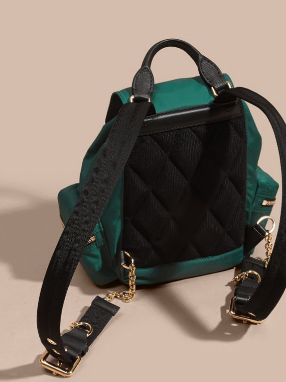 The Small Rucksack in Technical Nylon and Leather in Pine Green - Women | Burberry - cell image 3