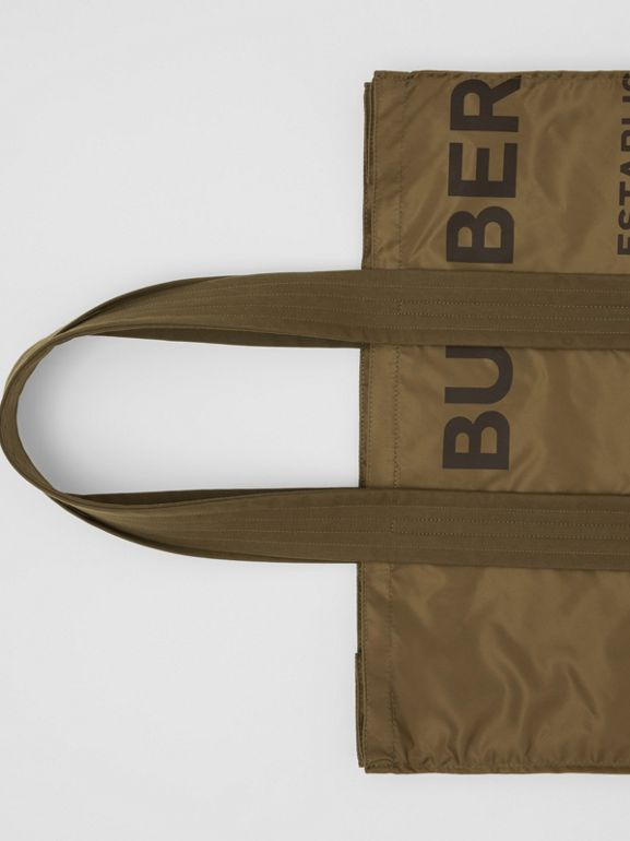 Belt Detail Horseferry Print Nylon Tote in Dark Military Khaki - Men | Burberry - cell image 1