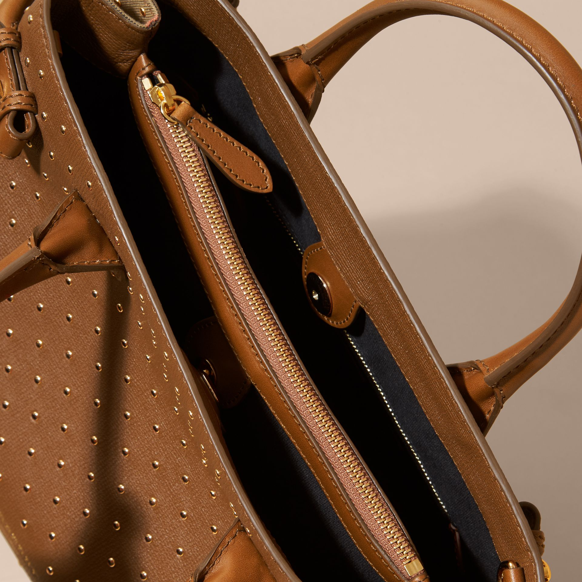The Medium Banner in Riveted Leather and House Check in Tan - Women | Burberry - gallery image 6