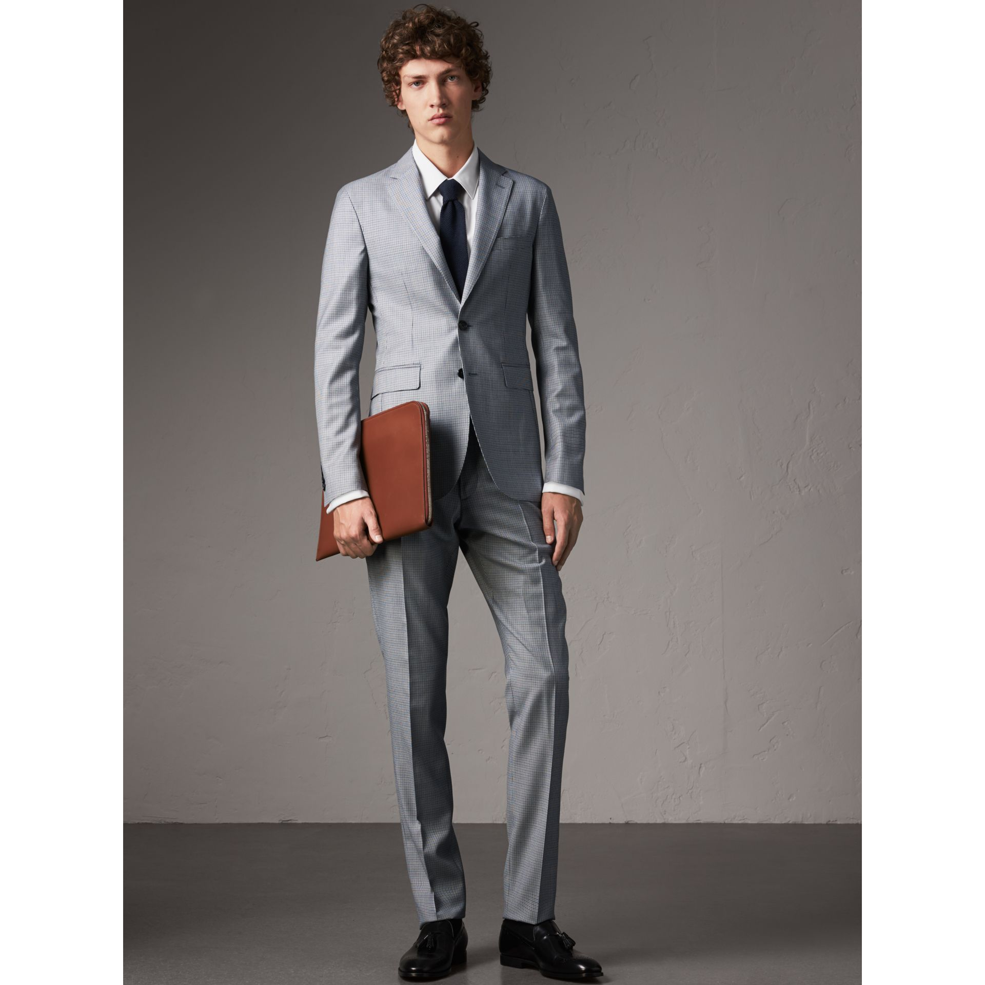 Slim Fit Houndstooth Wool Trousers in Light Blue - Men | Burberry United Kingdom - gallery image 1