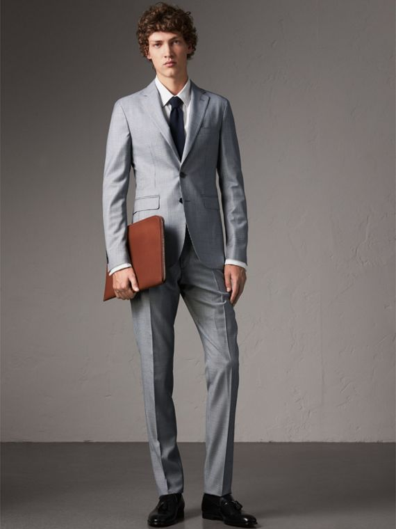Slim Fit Houndstooth Wool Trousers in Light Blue