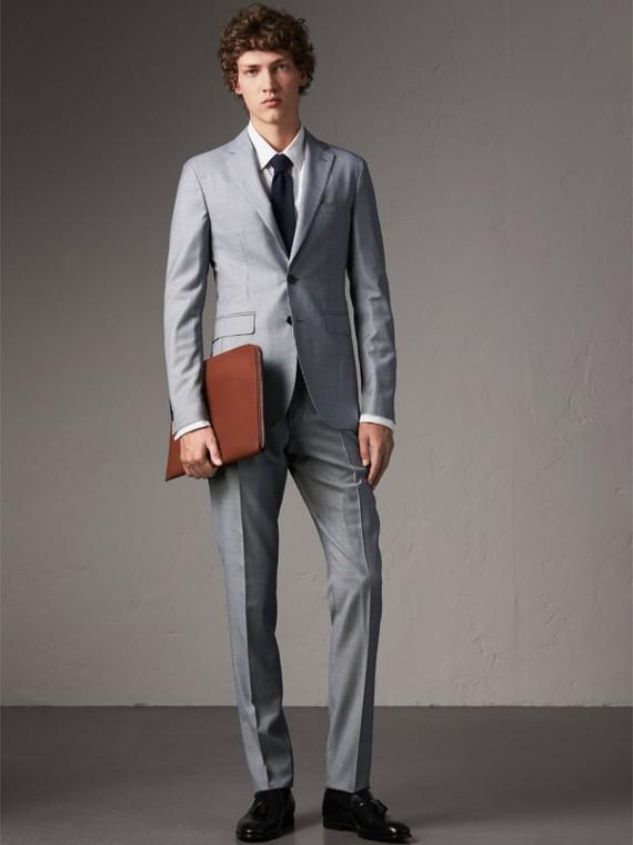Pantalones ajustados en lana de pata de gallo (Azul Claro)