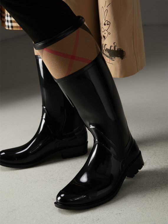 House Check Rain Boots in Black - Women | Burberry Hong Kong - cell image 2