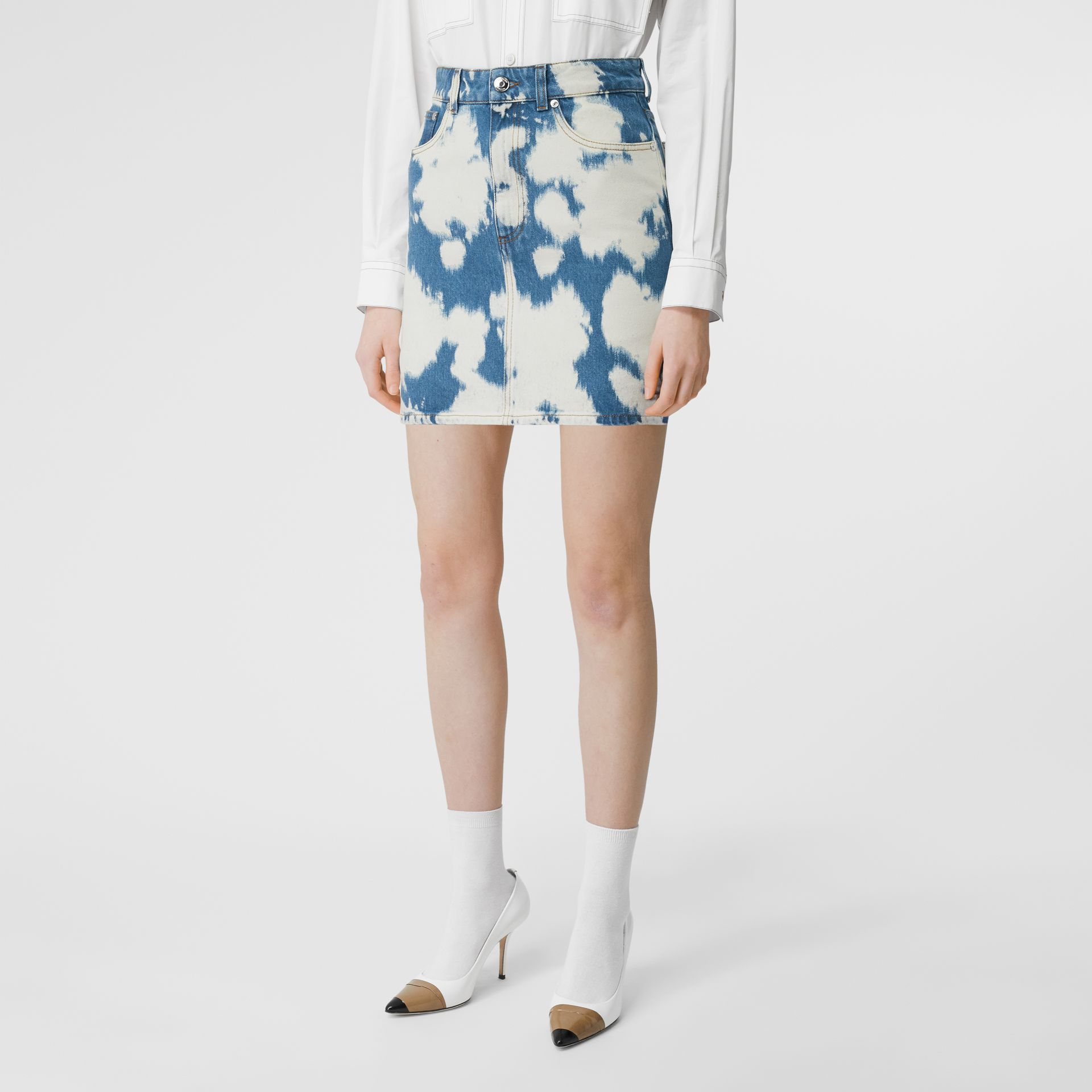 Monogram Motif Bleached Denim Mini Skirt in Blue - Women | Burberry - gallery image 4