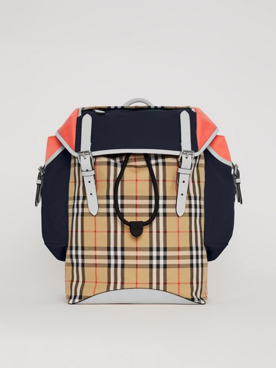Lederrucksack im Vintage Check- und Colour-Blocking-Design (Himmelblau)
