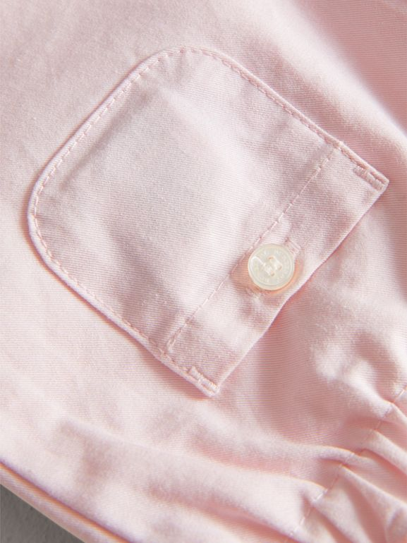 Check Turn-Up Cotton Trousers in Light Pink | Burberry - cell image 1