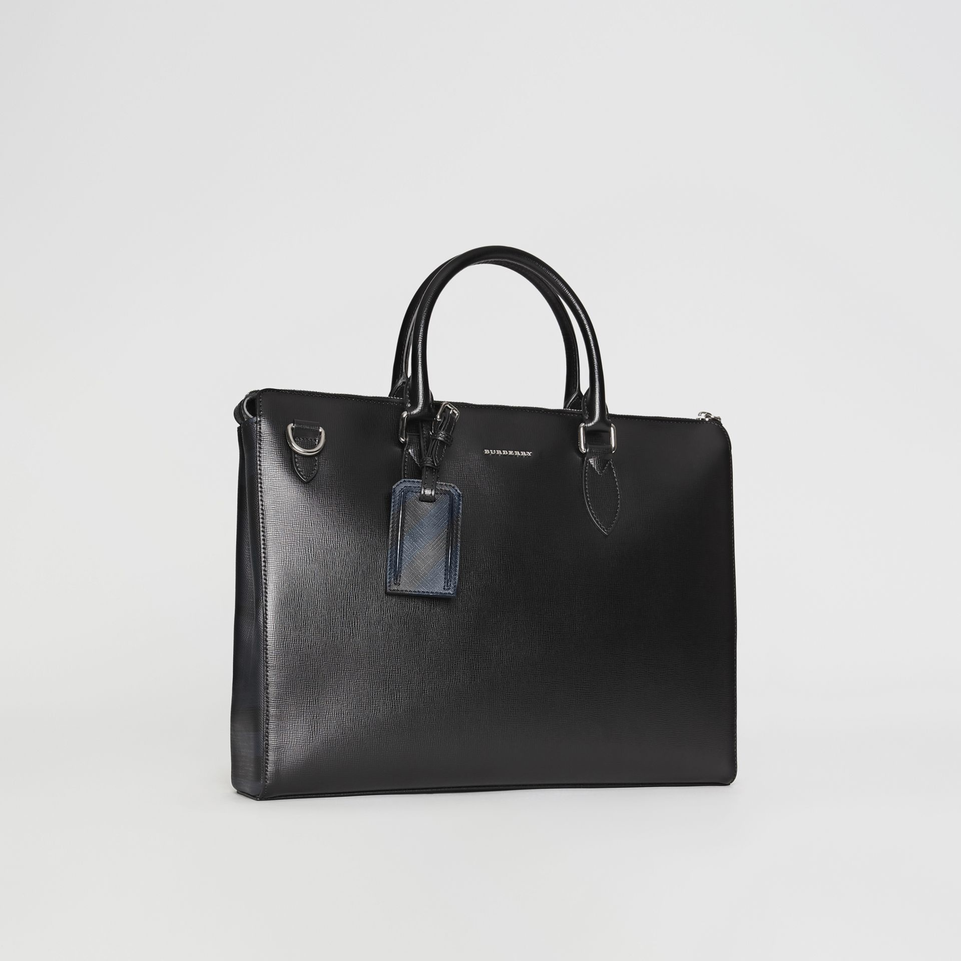 Large London Leather Briefcase in Black - Men | Burberry - gallery image 5