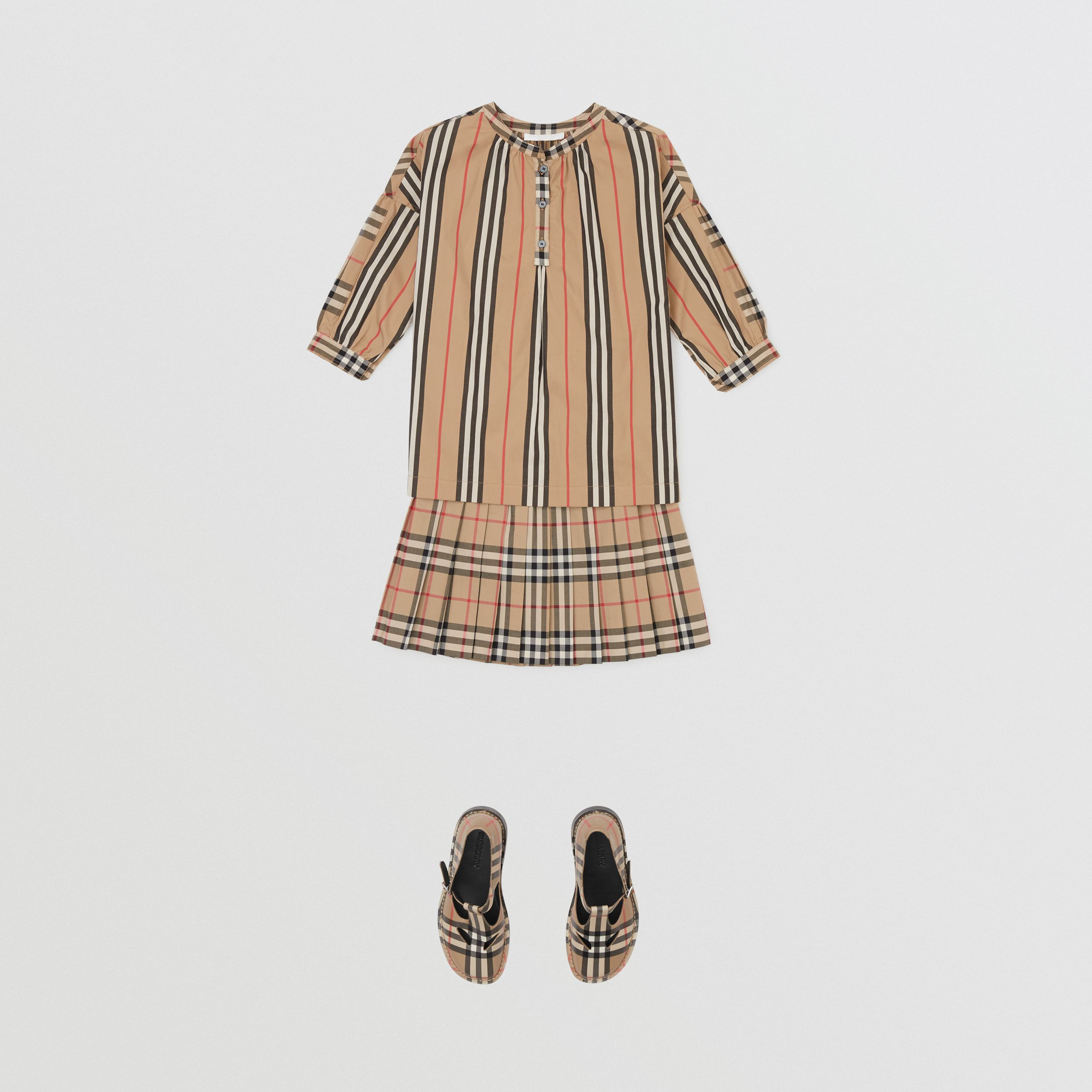 Vintage Check Cotton Pleated Skirt in Archive Beige | Burberry - 3