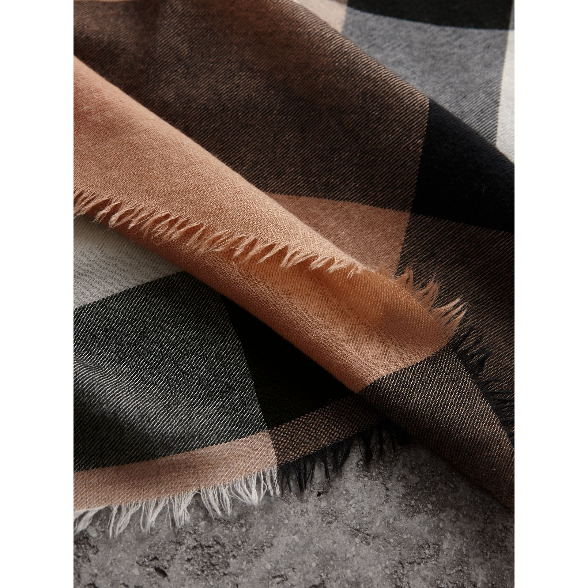 Lightweight Check Cashmere Scarf in Camel | Burberry - gallery image 1