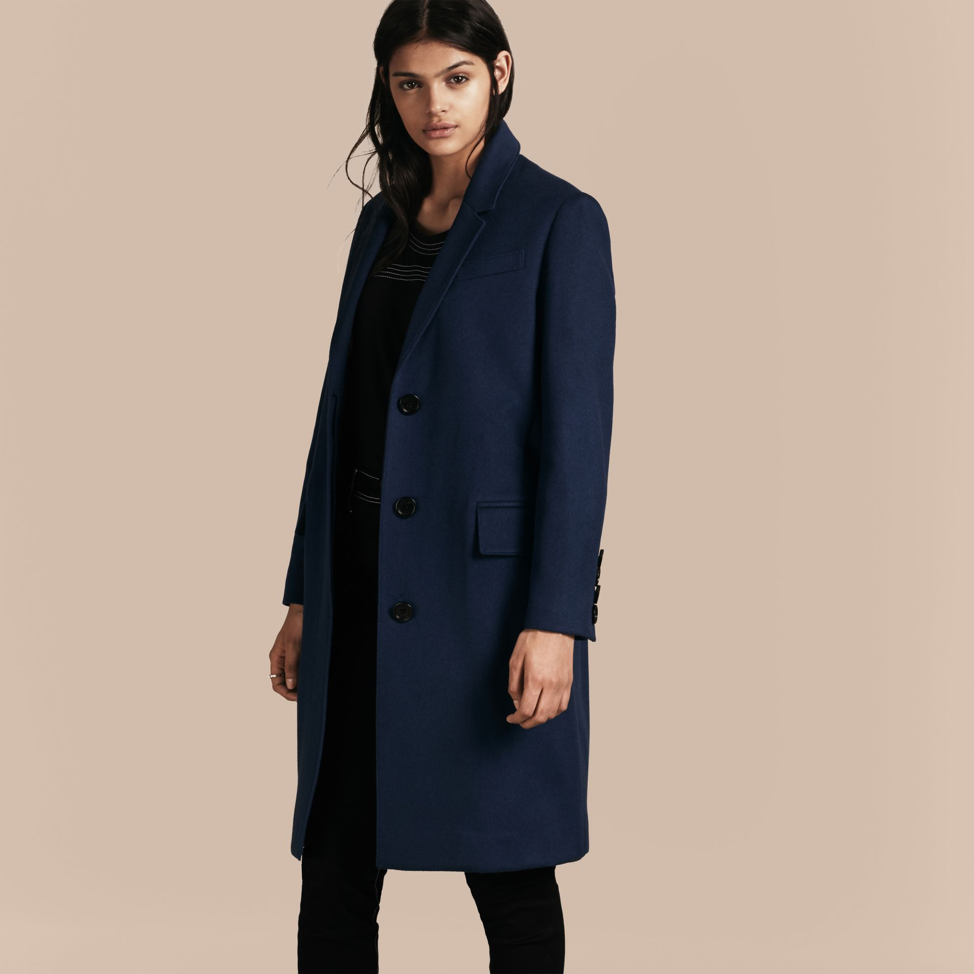 Bright navy Cashmere Tailored Coat Bright Navy - gallery image 7