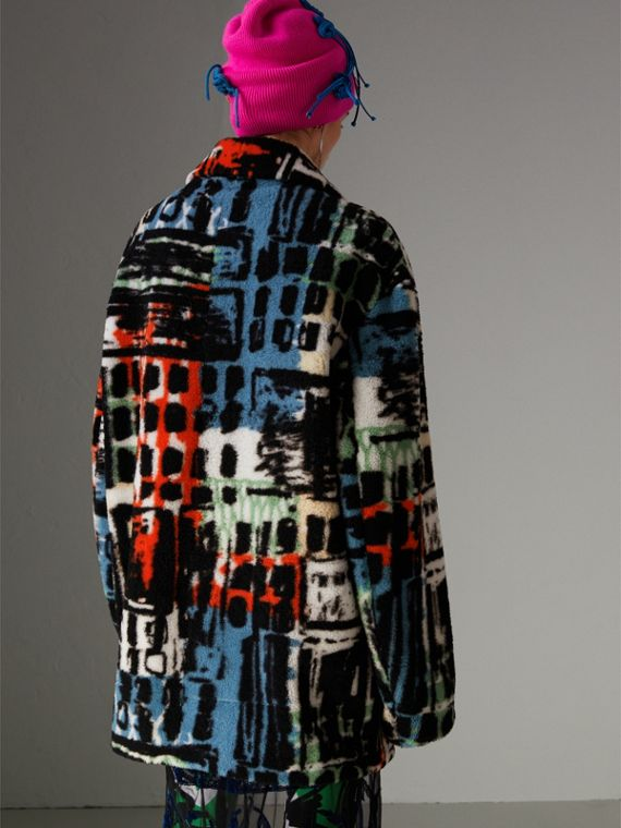 Graffiti Print Shearling Oversized Jacket in Steel Blue - Women | Burberry - cell image 2