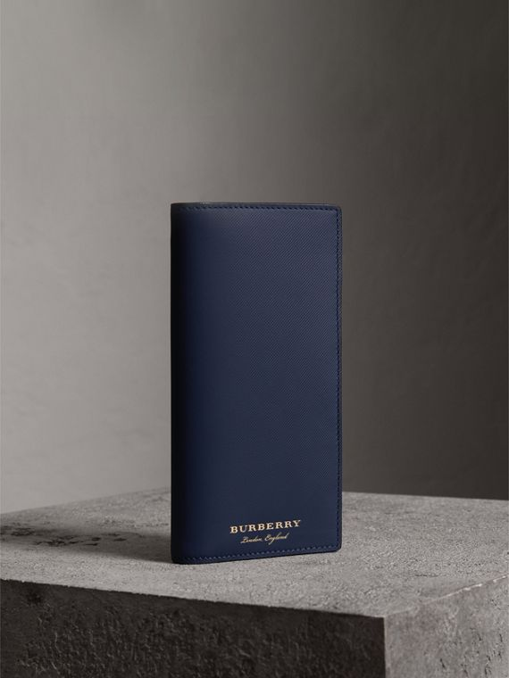 Trench Leather Continental Wallet in Ink Blue