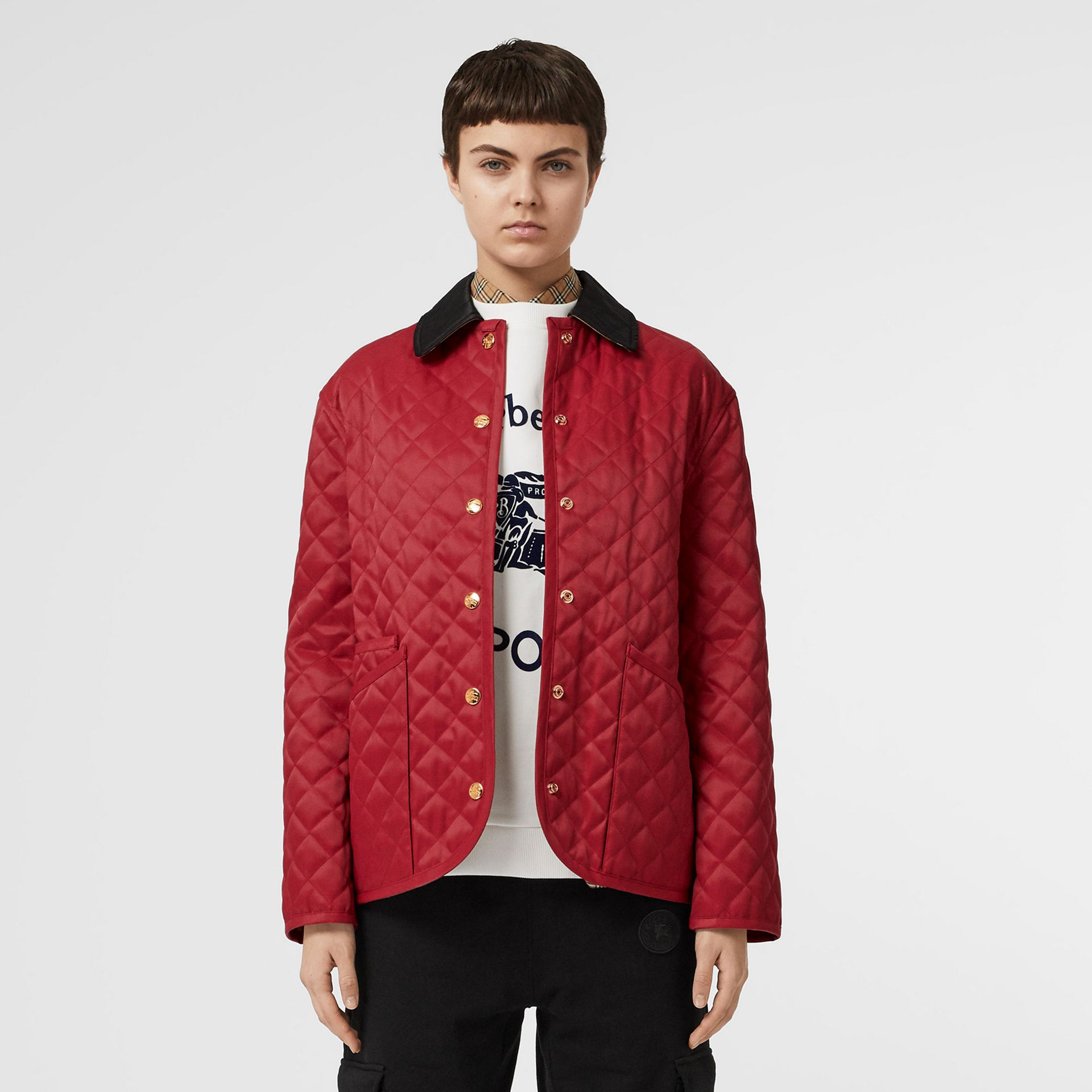 Diamond Quilted Barn Jacket in Red - Women | Burberry - gallery image 7