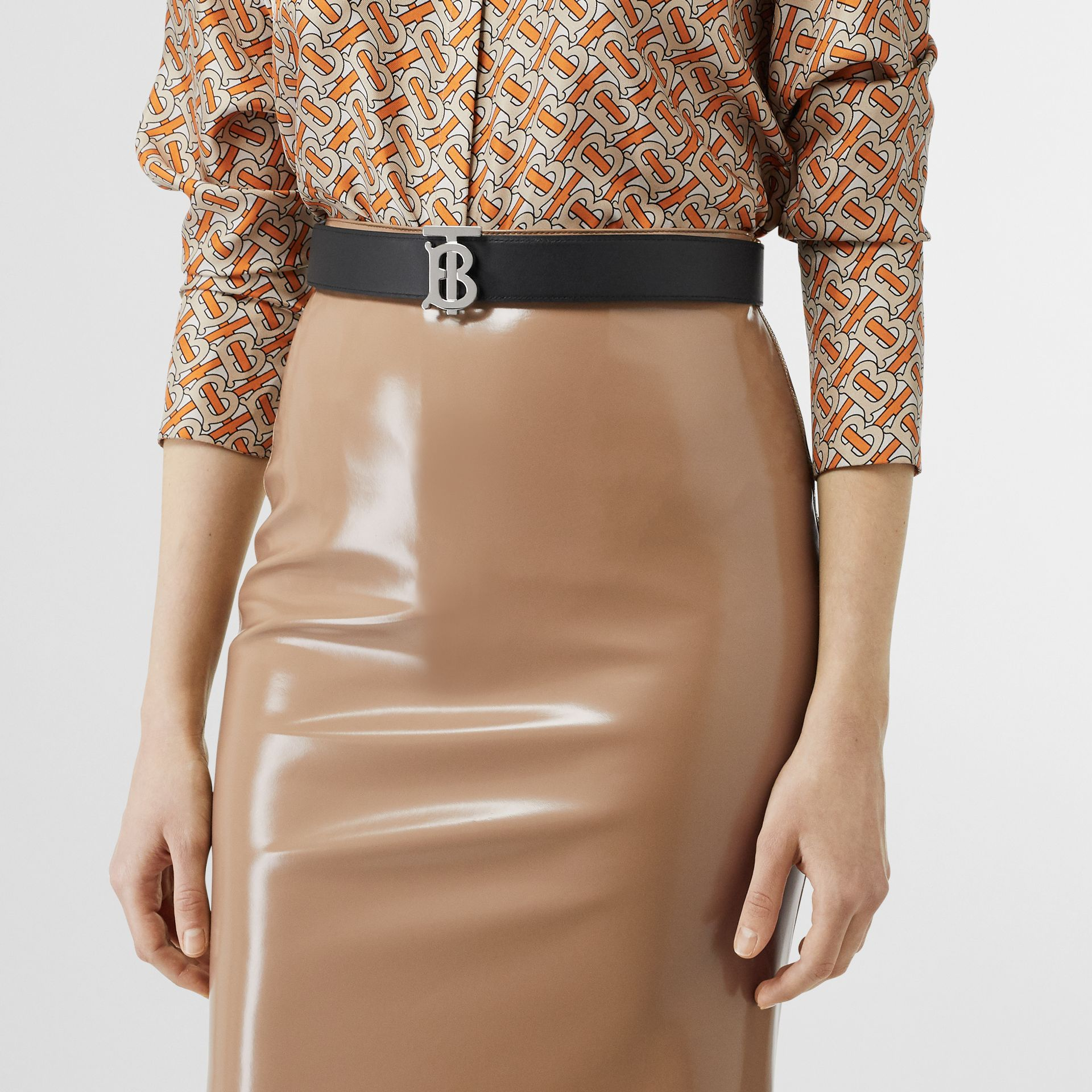 Reversible Monogram Motif Leather Belt in Malt Brown/black - Women | Burberry United Kingdom - gallery image 5