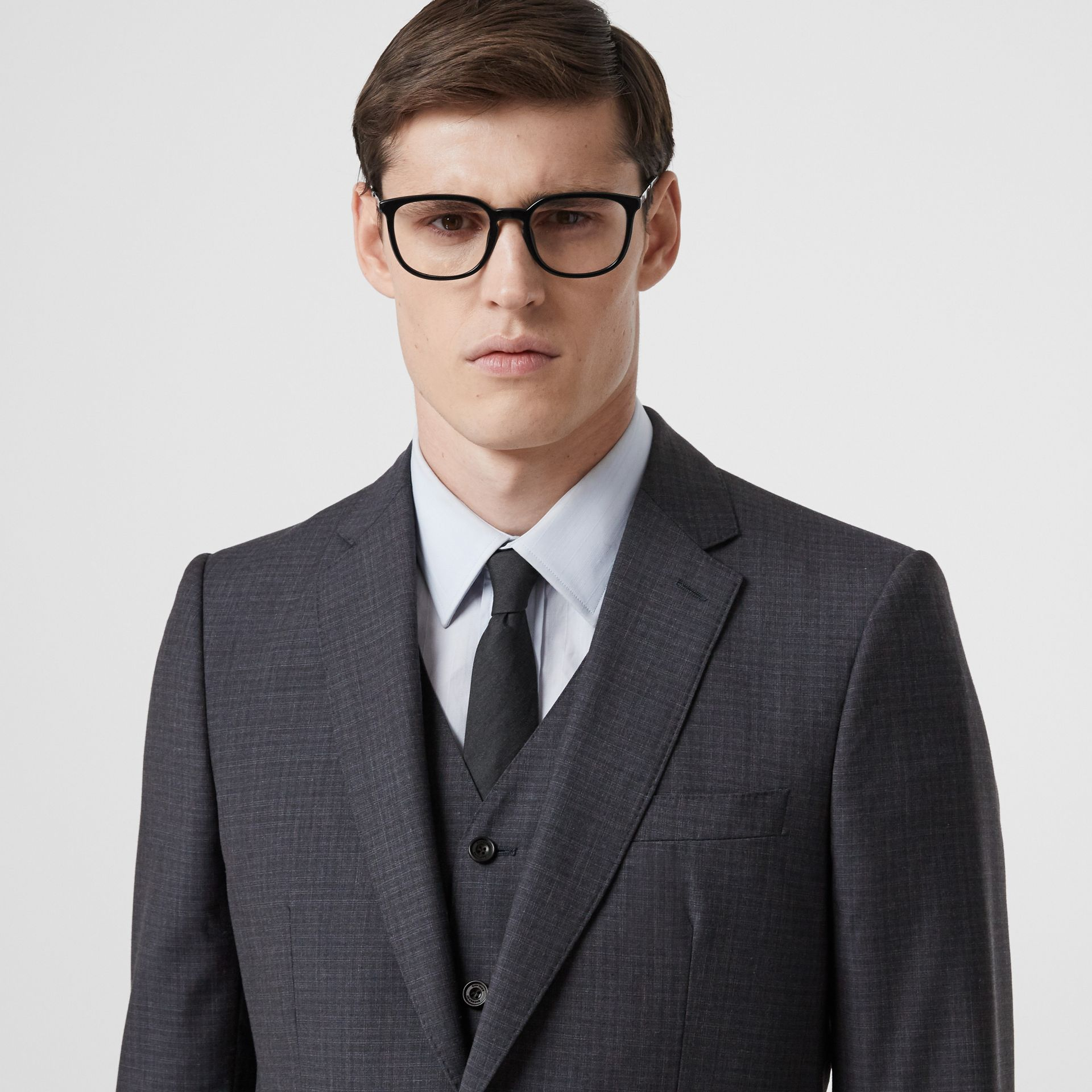 Classic Fit Check Wool Silk Three-piece Suit in Navy - Men | Burberry - gallery image 1