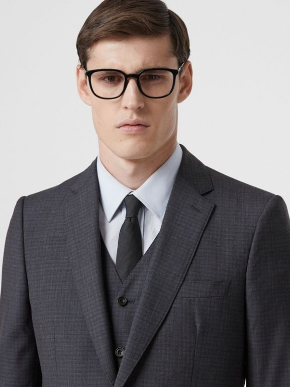 Classic Fit Check Wool Silk Three-piece Suit in Navy - Men | Burberry United Kingdom - cell image 1