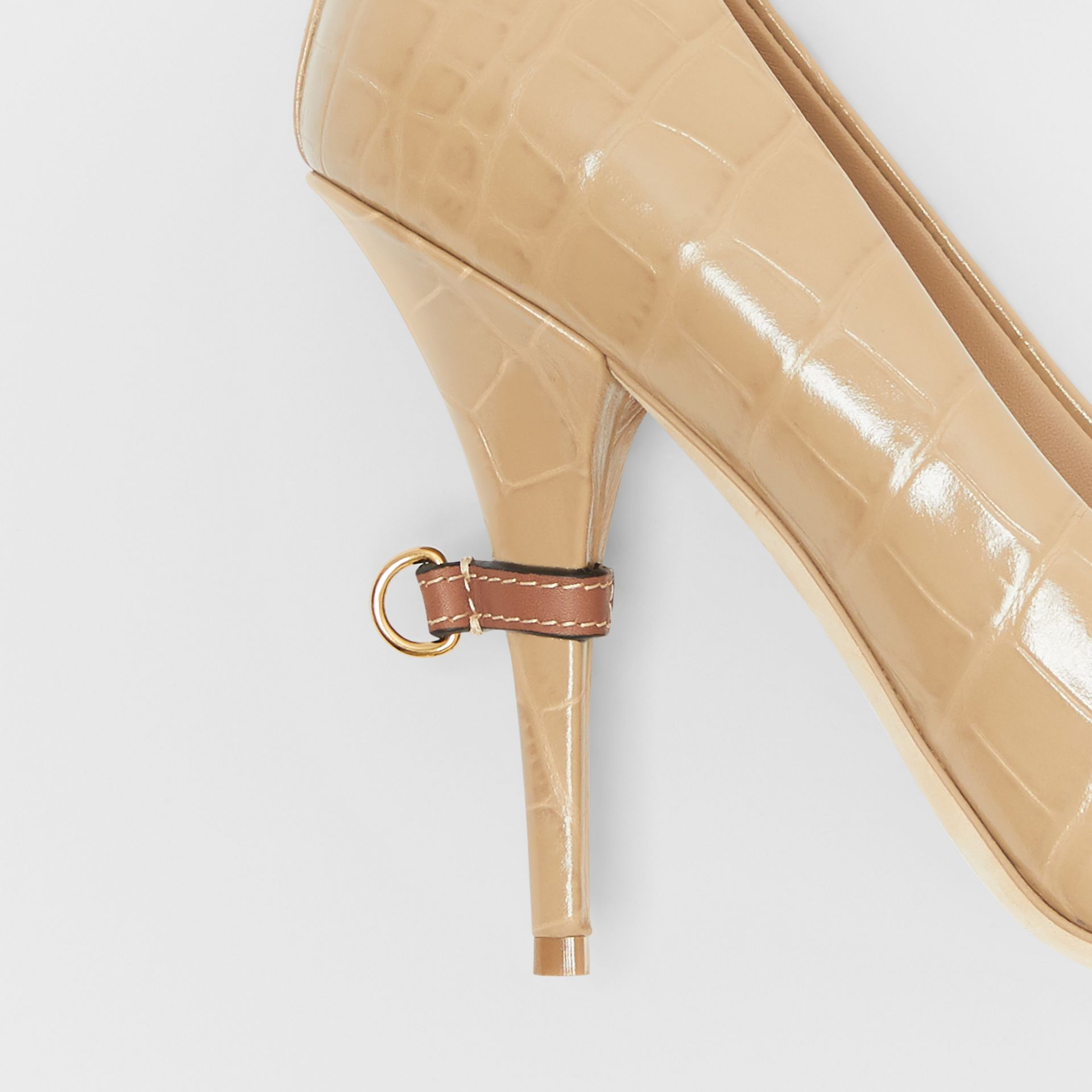 D-ring Detail Embossed Leather Peep-toe Pumps in Dark Honey - Women | Burberry - gallery image 1