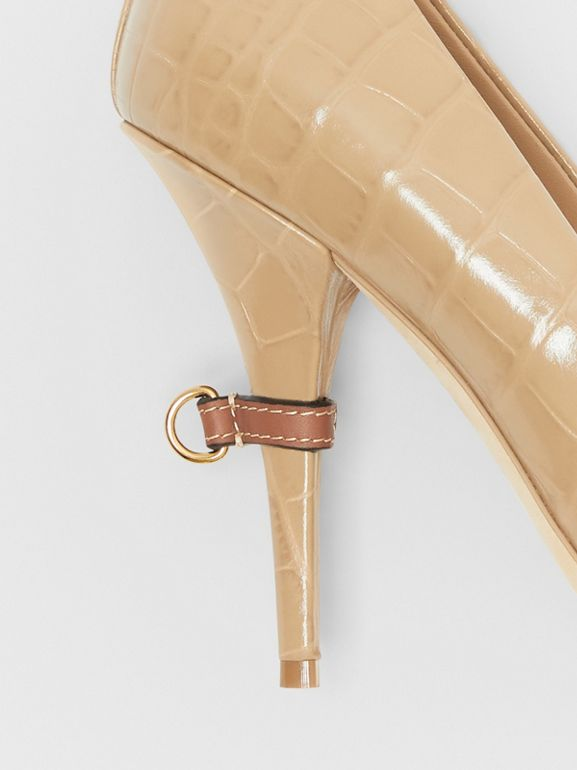 D-ring Detail Embossed Leather Peep-toe Pumps in Dark Honey - Women | Burberry - cell image 1