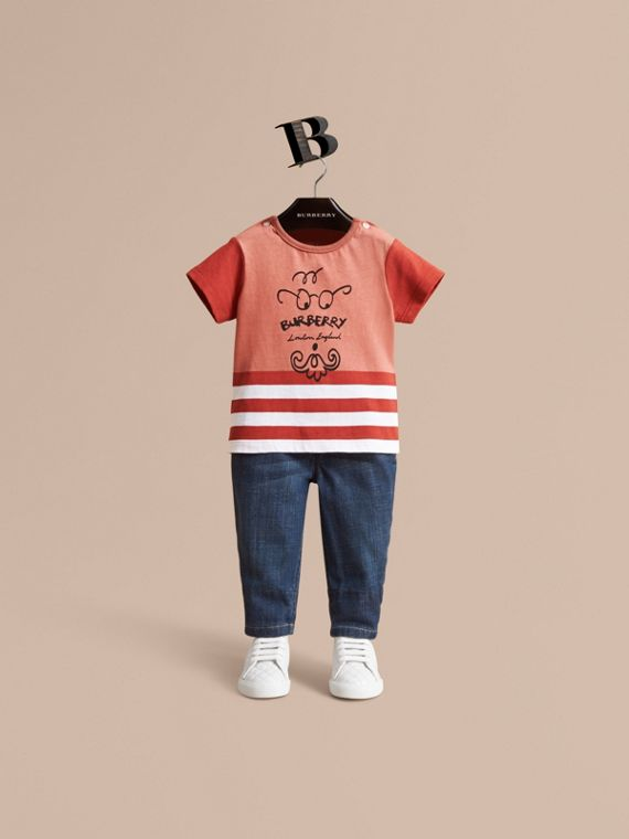 Bearded Gent Print Cotton T-shirt in Pale Cinnamon | Burberry Singapore