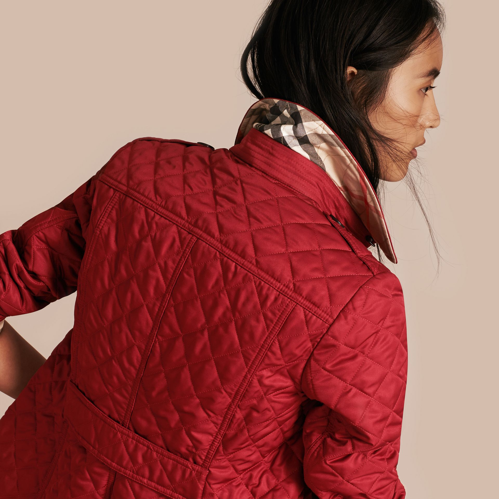 Diamond Quilted Jacket Parade Red - gallery image 4