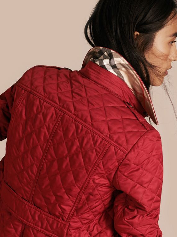 Diamond Quilted Jacket Parade Red - cell image 3