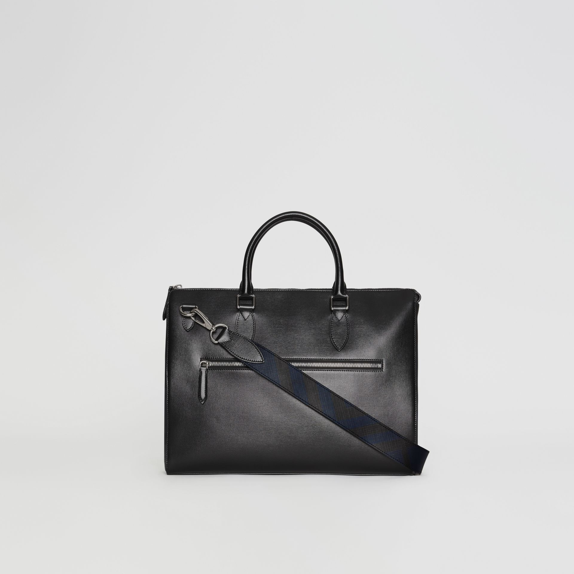 Large London Leather Briefcase in Black - Men | Burberry Australia - gallery image 7