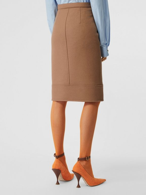 Button Panel Detail Wool Cashmere A-line Skirt in Camel - Women | Burberry United Kingdom - cell image 1