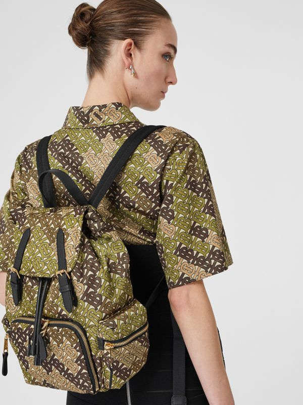 The Medium Rucksack in Monogram Print Nylon in Khaki Green - Women | Burberry Canada - cell image 2
