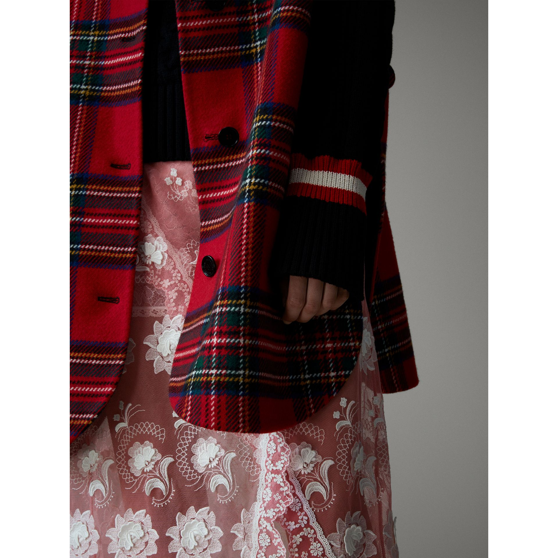 Reversible Tartan Wool Cashmere Poncho in Bright Red/dark Grey - Women | Burberry - gallery image 6