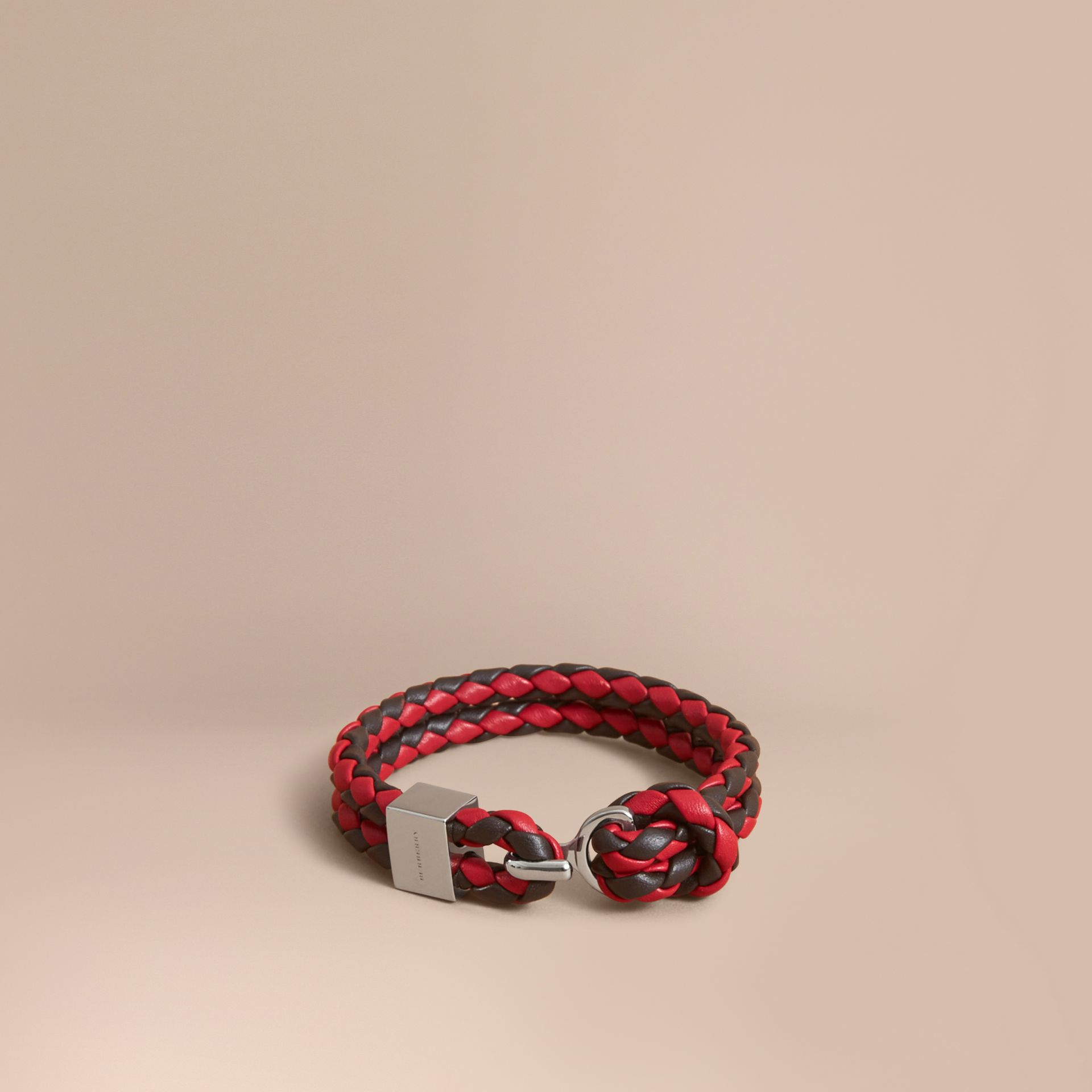 Two-tone Braided Leather Bracelet in Peppercorn/coral Red - Men | Burberry - gallery image 1