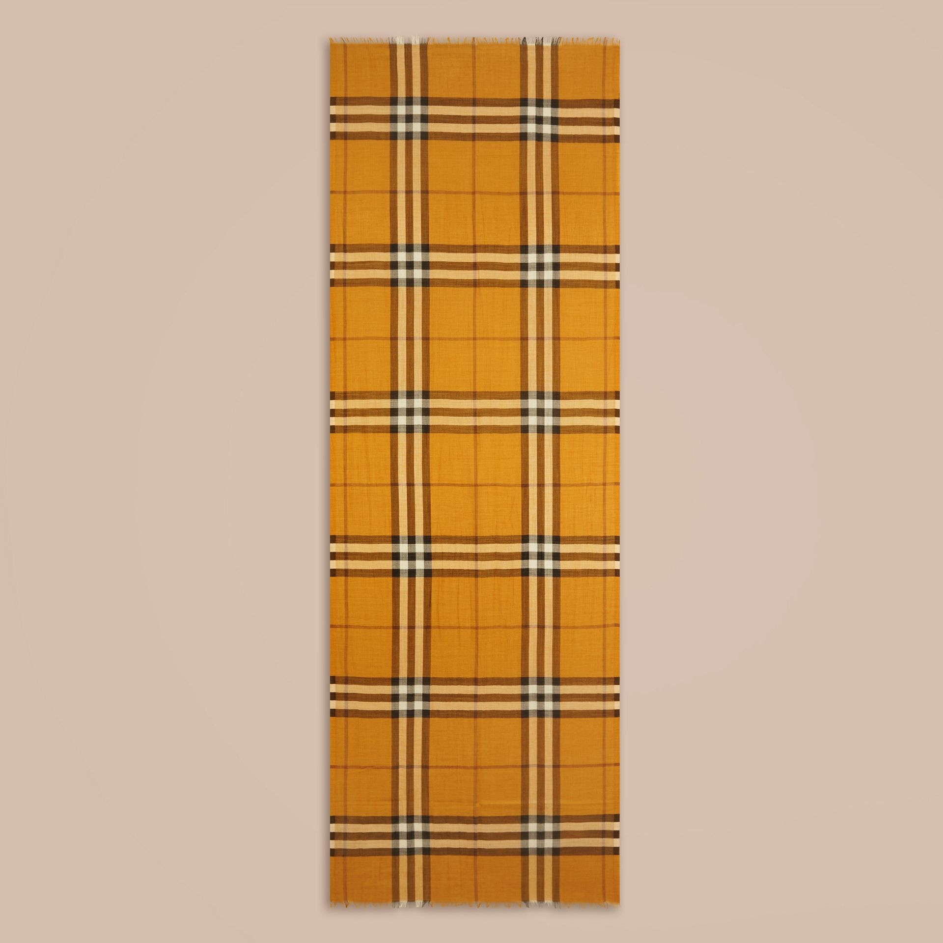 Amber yellow Lightweight Check Wool and Silk Scarf Amber Yellow - gallery image 4