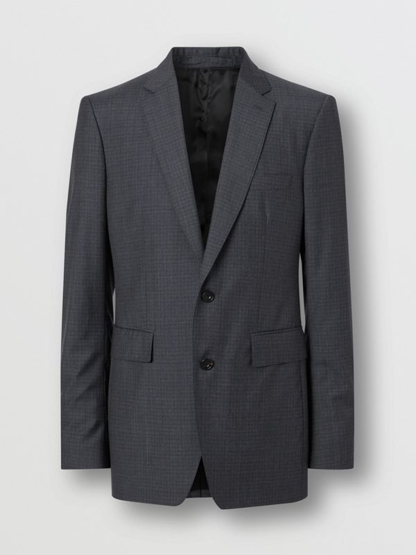 Classic Fit Check Wool Silk Three-piece Suit in Navy - Men | Burberry United Kingdom - cell image 3