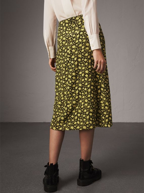Zip Detail Floral Silk Draped Skirt in Pale Saffron Yellow - Women | Burberry - cell image 2
