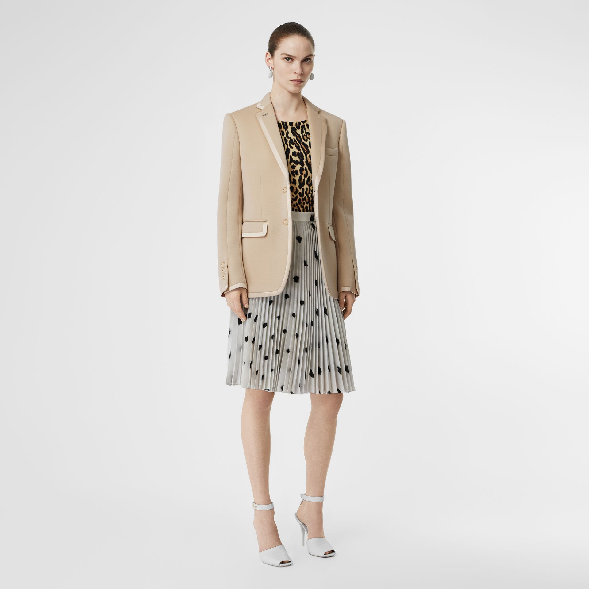 Silk Trim Neoprene Blazer in Teddy Beige - Women | Burberry Australia - gallery image 0